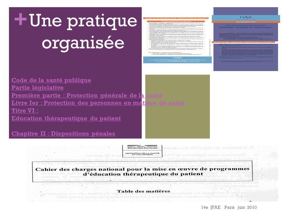 Une pratique organisée