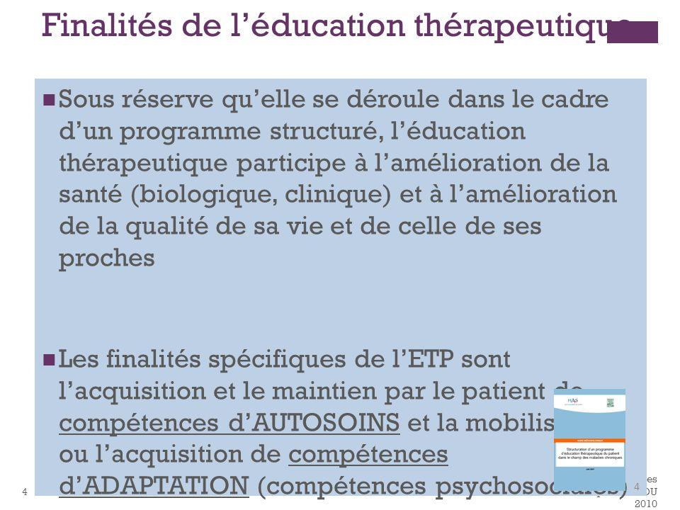 Finalités de l'éducation thérapeutique