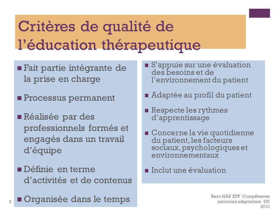 Critères de qualité de l'éducation thérapeutique