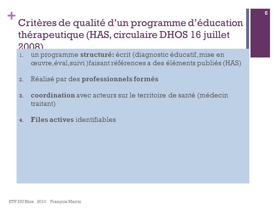 Critères de qualité d'un programme d'éducation thérapeutique (HAS, circulaire DHOS 16 juillet 2008)