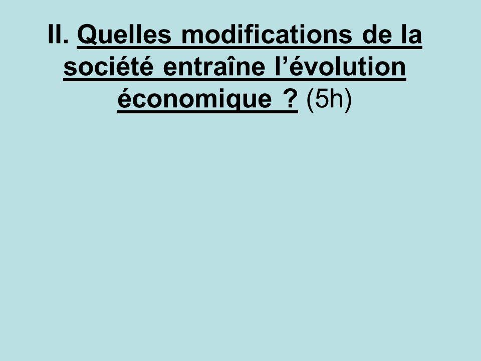 II. Quelles modifications de la société entraîne l'évolution économique (5h)