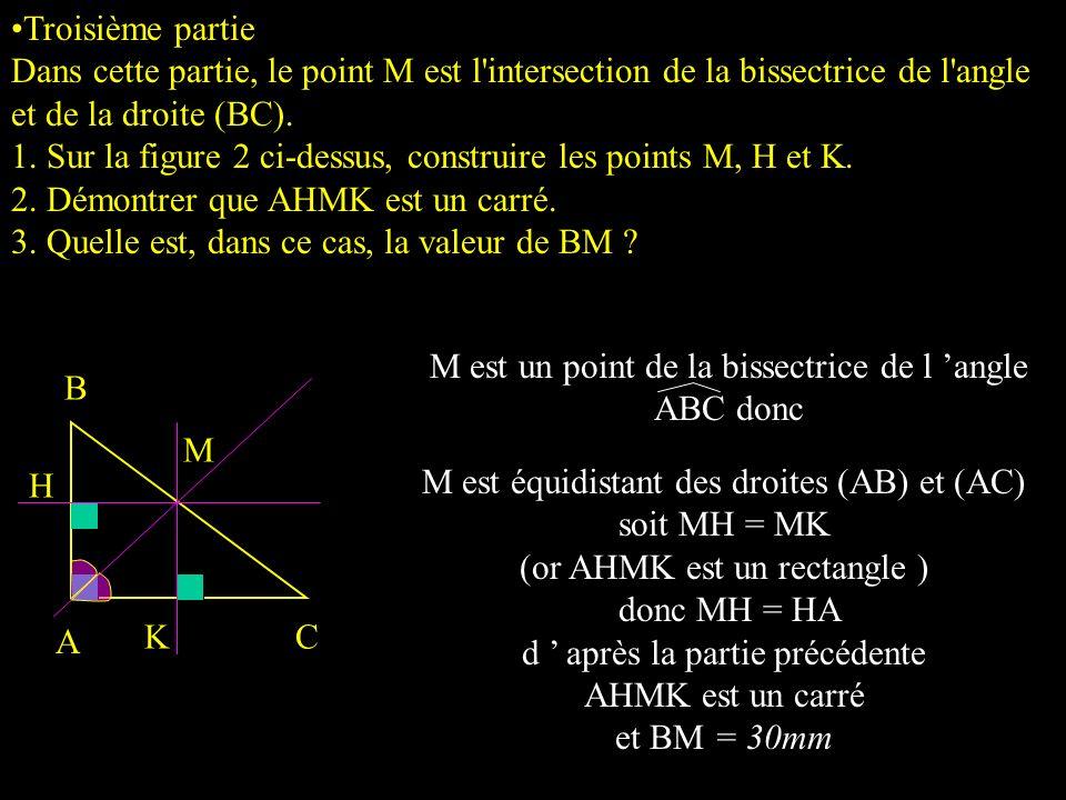 M est un point de la bissectrice de l 'angle ABC donc B