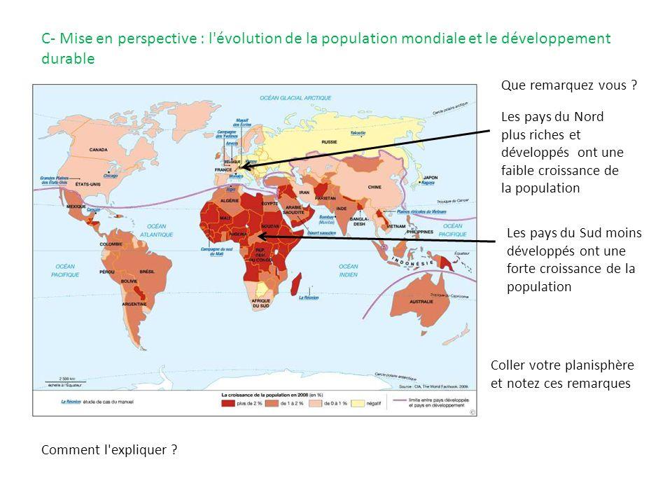 C- Mise en perspective : l évolution de la population mondiale et le développement durable