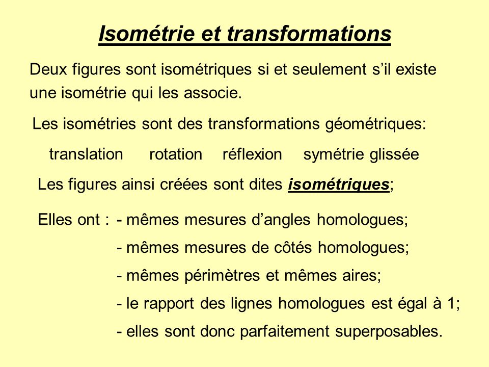 Isométrie et transformations