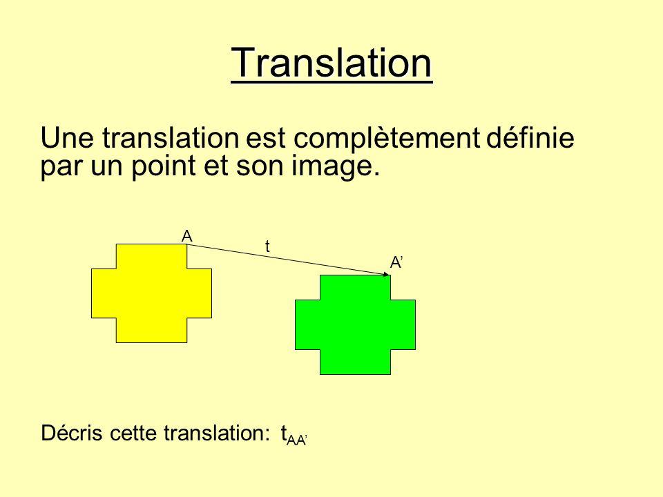 Translation Une translation est complètement définie