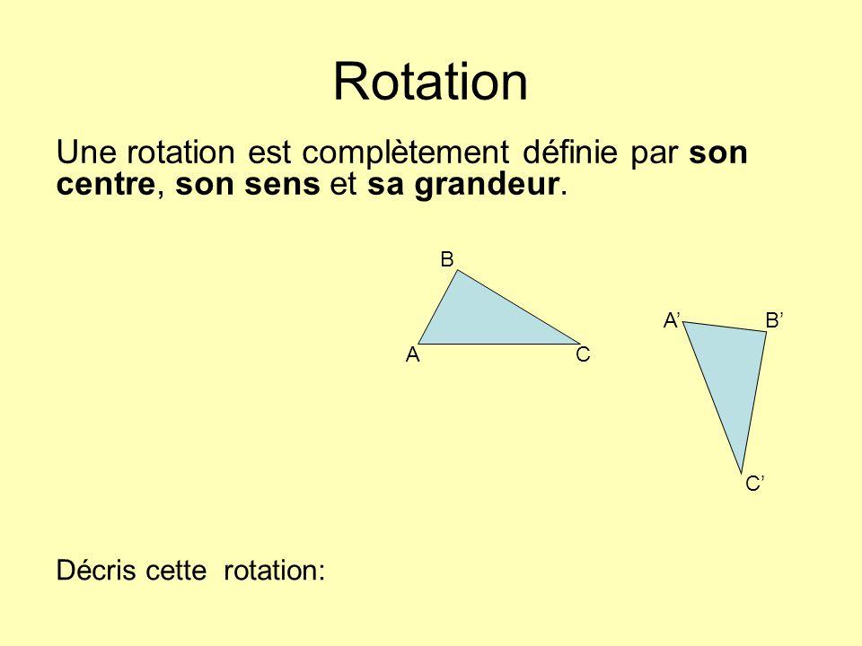 Rotation Une rotation est complètement définie par son