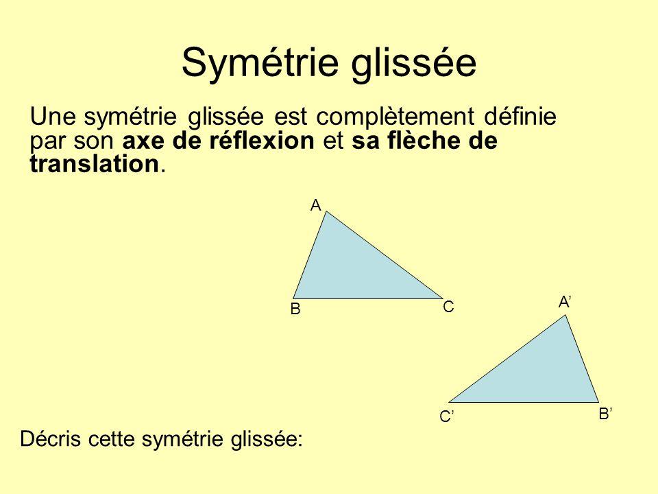 Symétrie glissée Une symétrie glissée est complètement définie