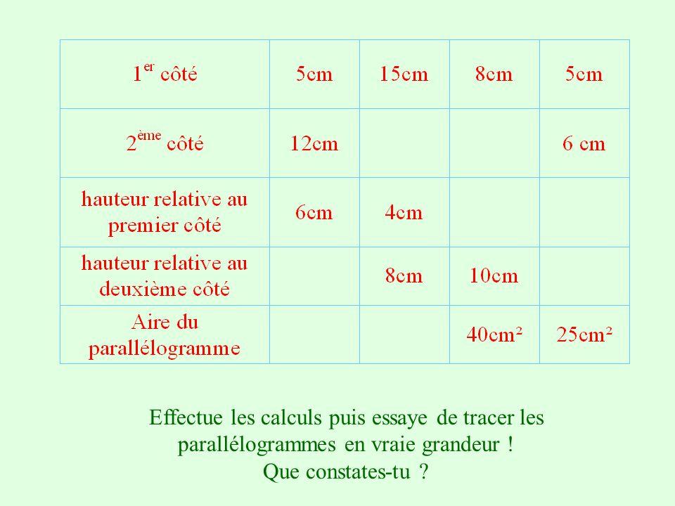 Effectue les calculs puis essaye de tracer les parallélogrammes en vraie grandeur !