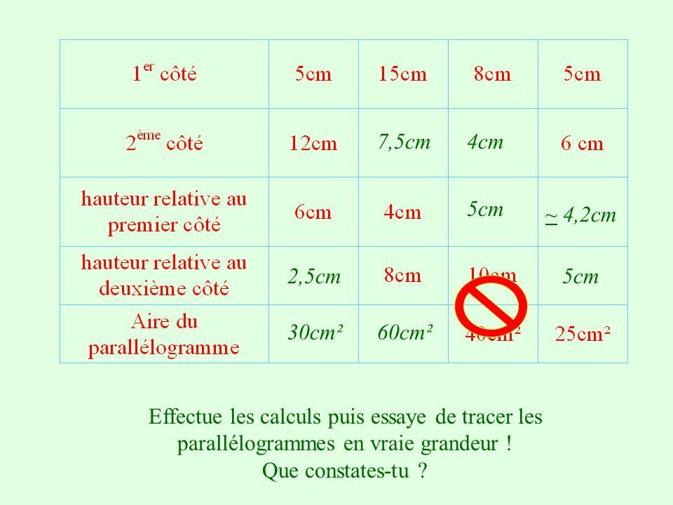 7,5cm 4cm. 5cm. ~ 4,2cm. 2,5cm. 5cm. 30cm². 60cm². Effectue les calculs puis essaye de tracer les parallélogrammes en vraie grandeur !