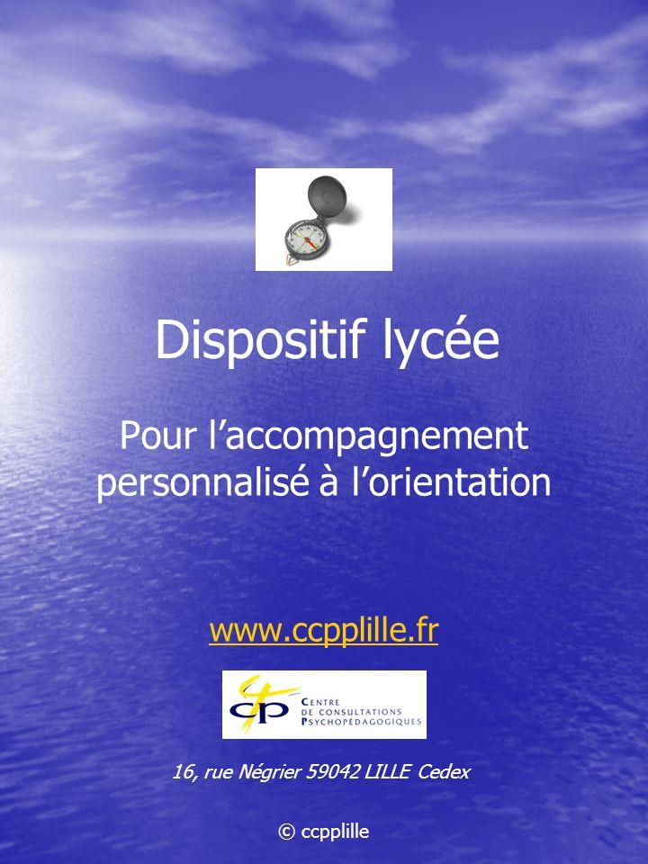 Pour l'accompagnement personnalisé à l'orientation www.ccpplille.fr
