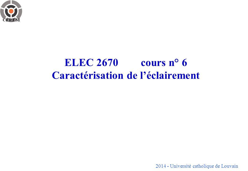 ELEC 2670 cours n° 6 Caractérisation de l'éclairement