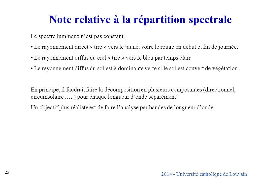 Note relative à la répartition spectrale