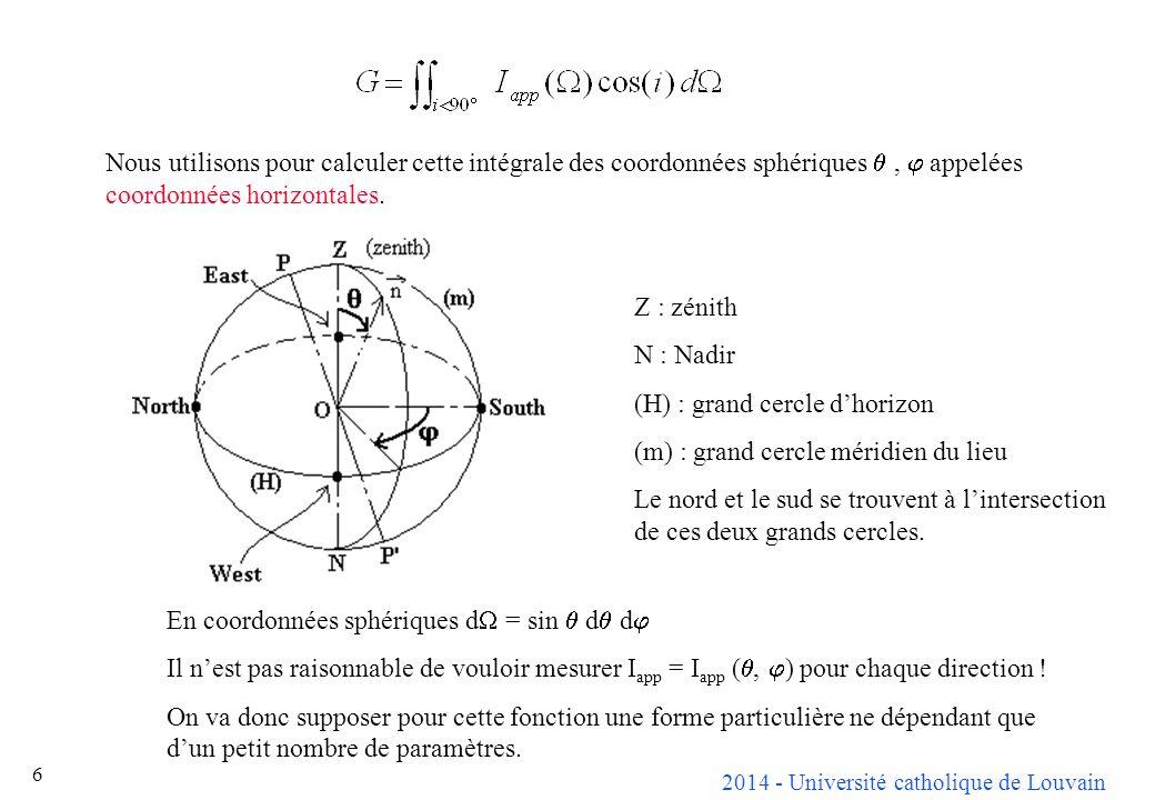 Nous utilisons pour calculer cette intégrale des coordonnées sphériques q , j appelées coordonnées horizontales.