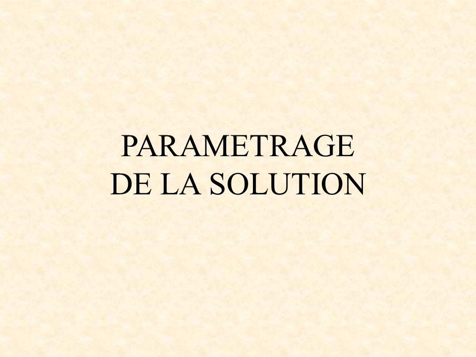 PARAMETRAGE DE LA SOLUTION
