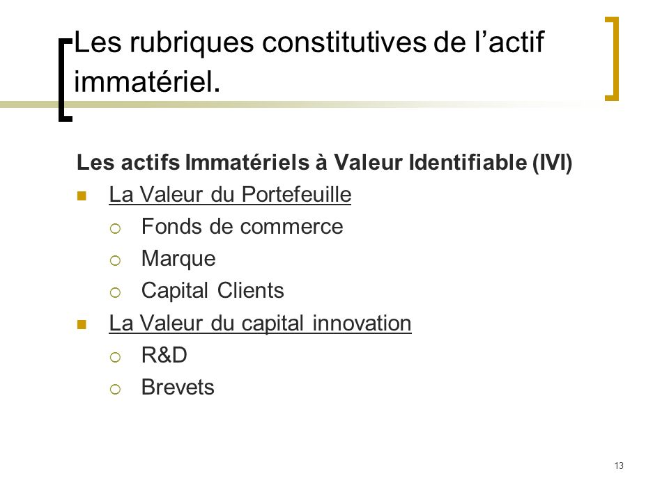 Les rubriques constitutives de l'actif immatériel.