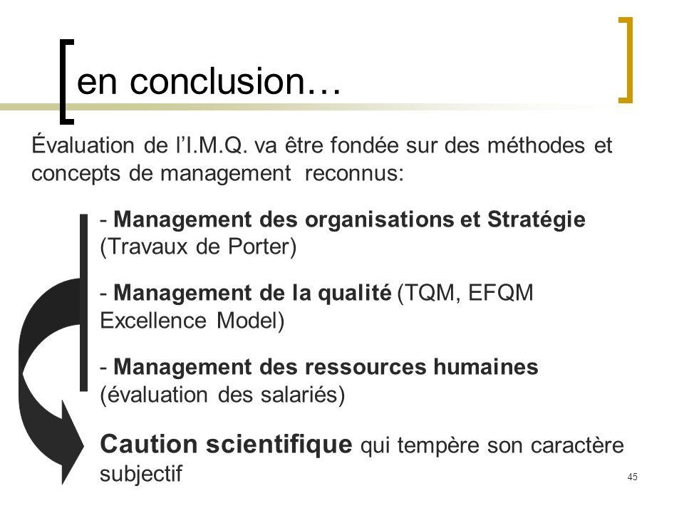 en conclusion… Évaluation de l'I.M.Q. va être fondée sur des méthodes et concepts de management reconnus: