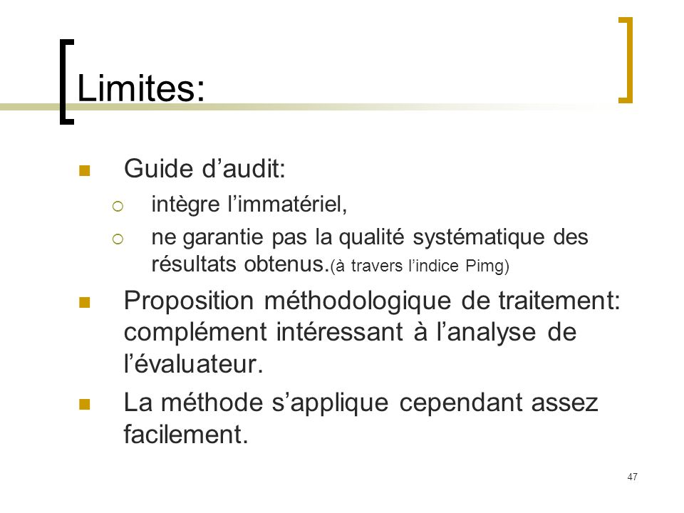 Limites: Guide d'audit: