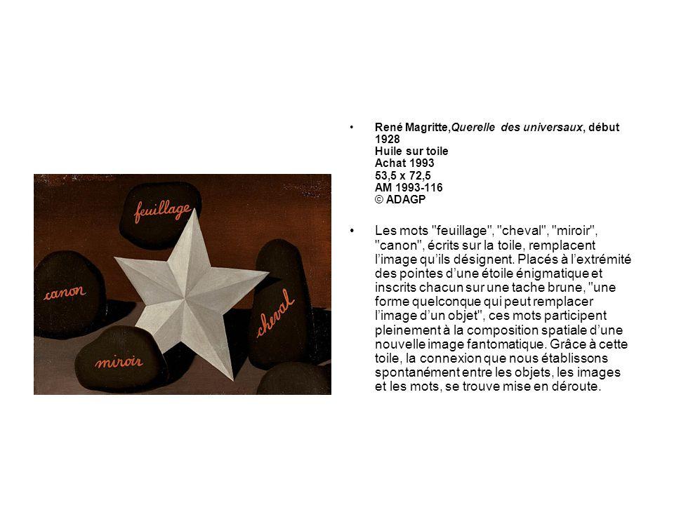 René Magritte,Querelle des universaux, début 1928 Huile sur toile Achat 1993 53,5 x 72,5 AM 1993-116 © ADAGP