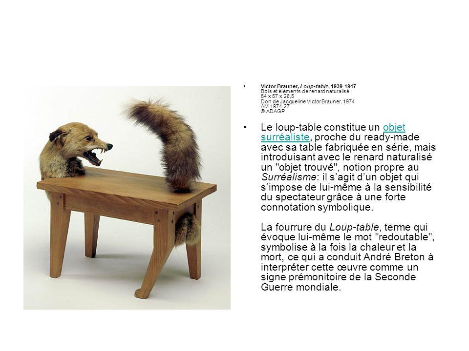 Victor Brauner, Loup-table, 1939-1947 Bois et éléments de renard naturalisé 54 x 57 x 28,5 Don de Jacqueline Victor Brauner, 1974 AM 1974-27 © ADAGP