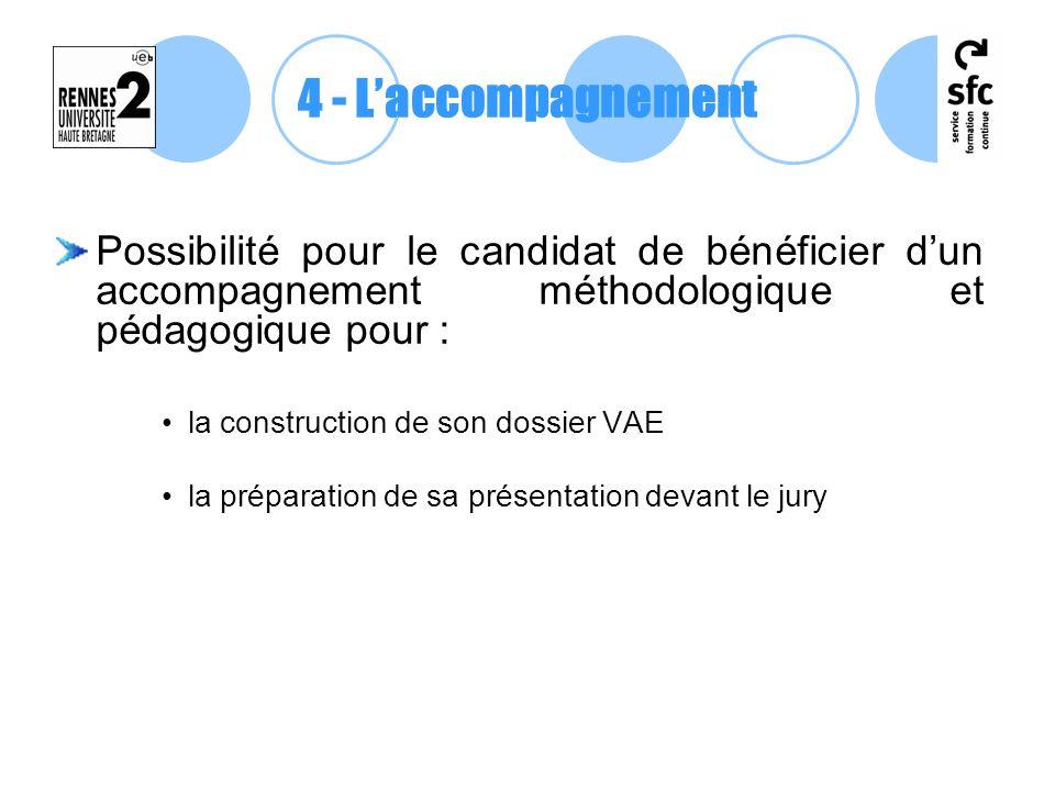 4 - L'accompagnement Possibilité pour le candidat de bénéficier d'un accompagnement méthodologique et pédagogique pour :