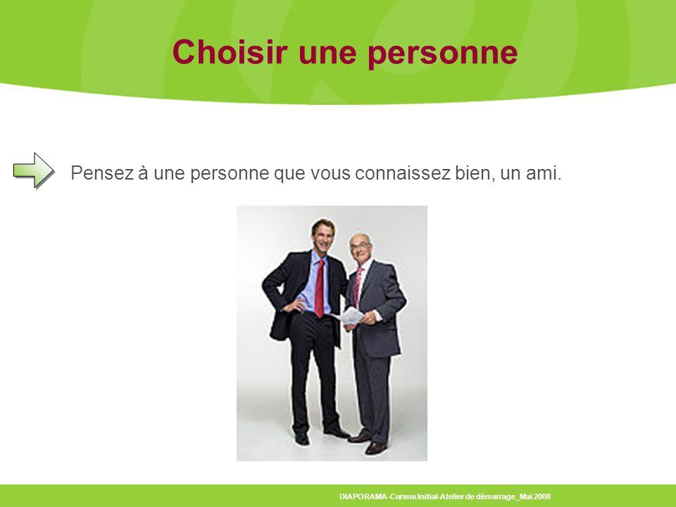 Choisir une personne Pensez à une personne que vous connaissez bien, un ami.