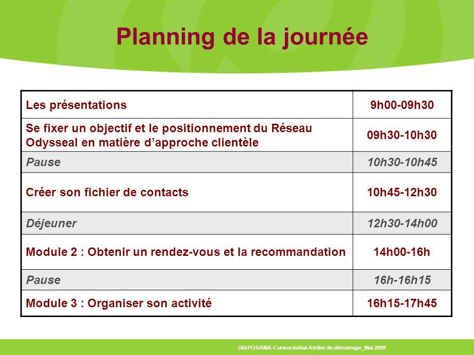 Planning de la journée Les présentations 9h00-09h30