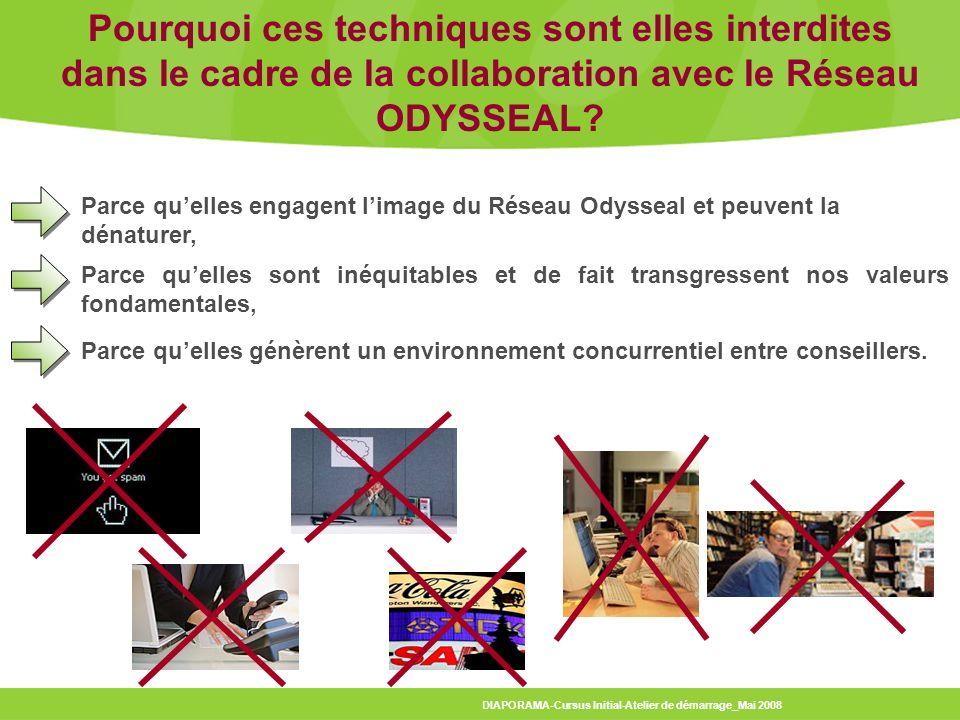 Pourquoi ces techniques sont elles interdites dans le cadre de la collaboration avec le Réseau ODYSSEAL