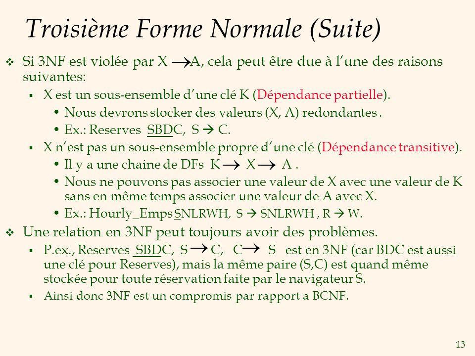 Troisième Forme Normale (Suite)