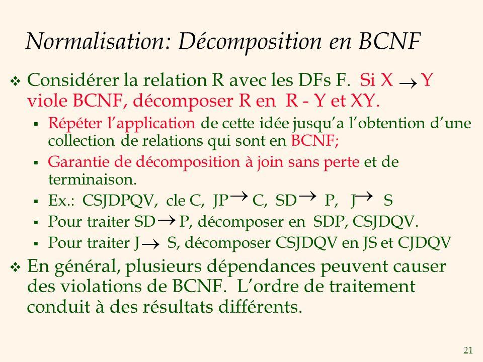Normalisation: Décomposition en BCNF