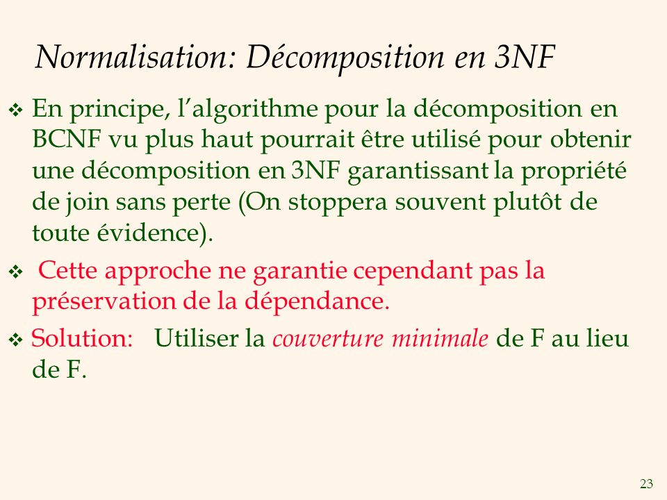 Normalisation: Décomposition en 3NF
