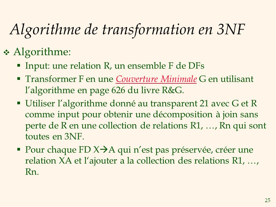 Algorithme de transformation en 3NF