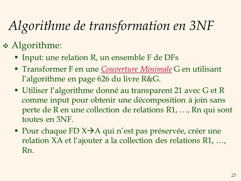 Algorithme de transformation en 3NF