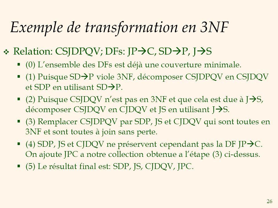 Exemple de transformation en 3NF