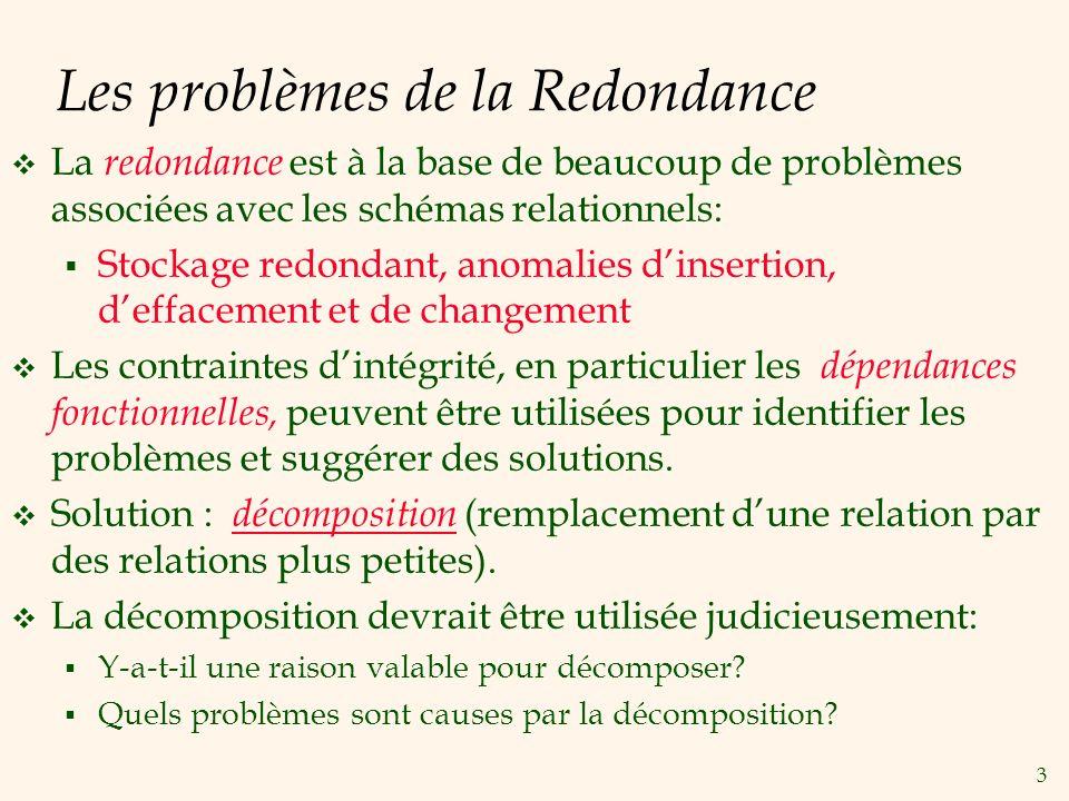Les problèmes de la Redondance