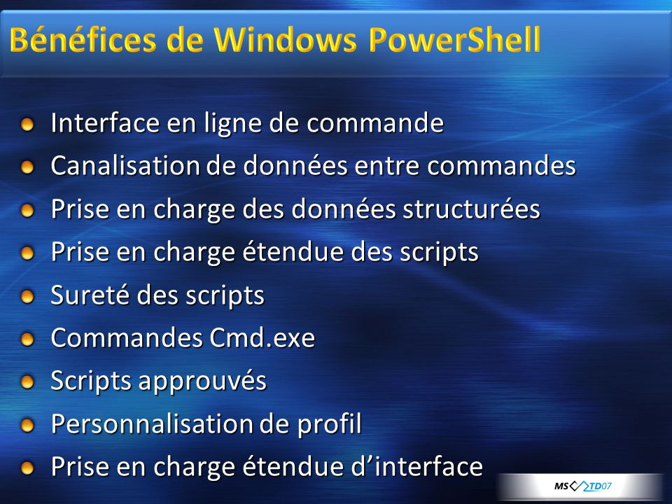 Bénéfices de Windows PowerShell