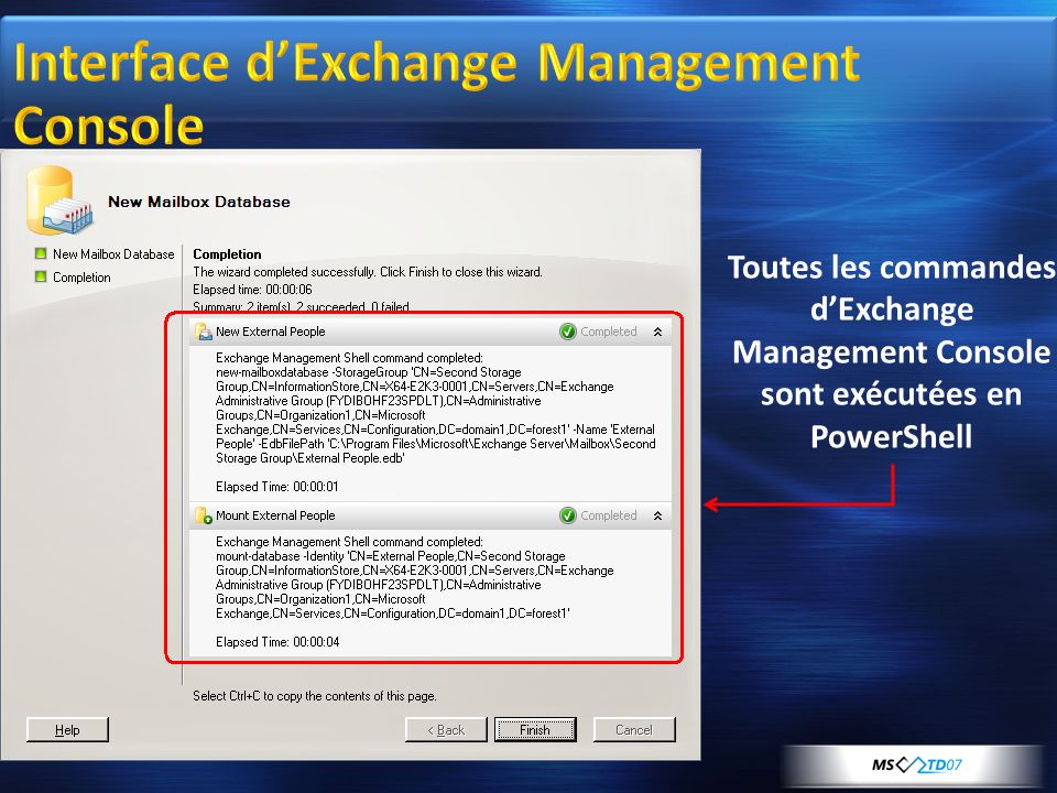 Interface d'Exchange Management Console