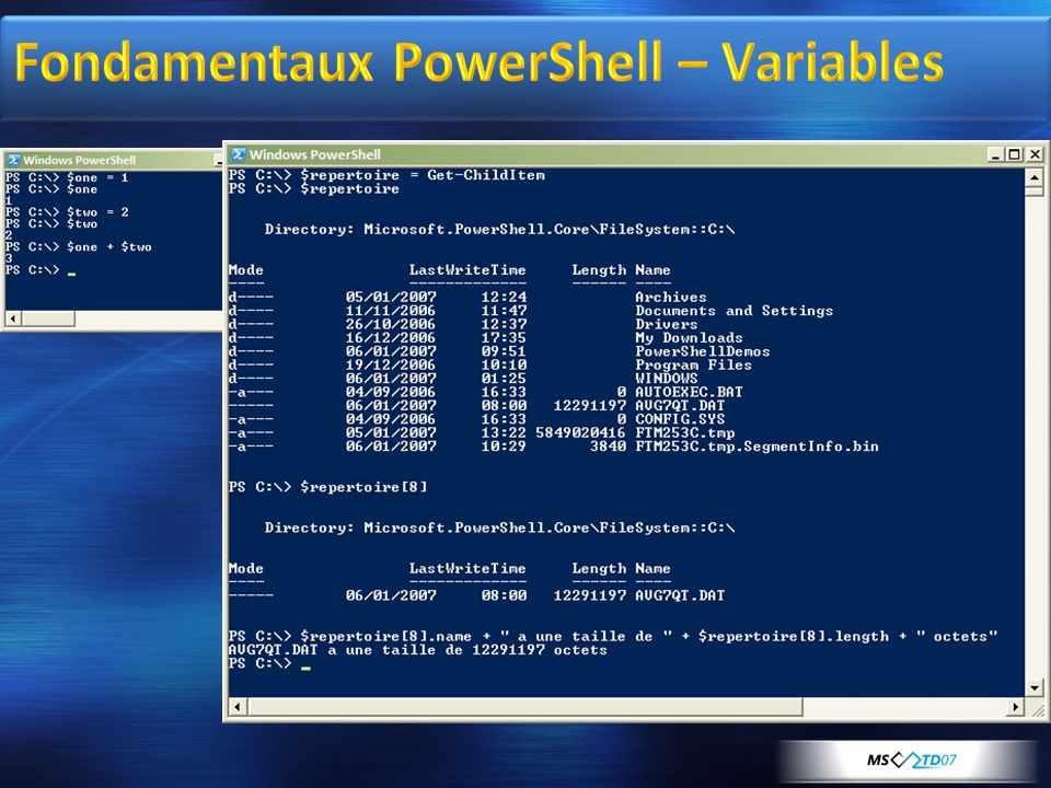 Fondamentaux PowerShell – Variables