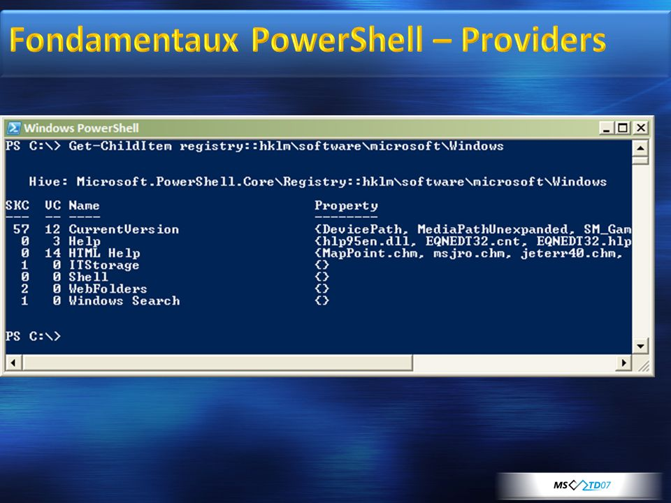 Fondamentaux PowerShell – Providers