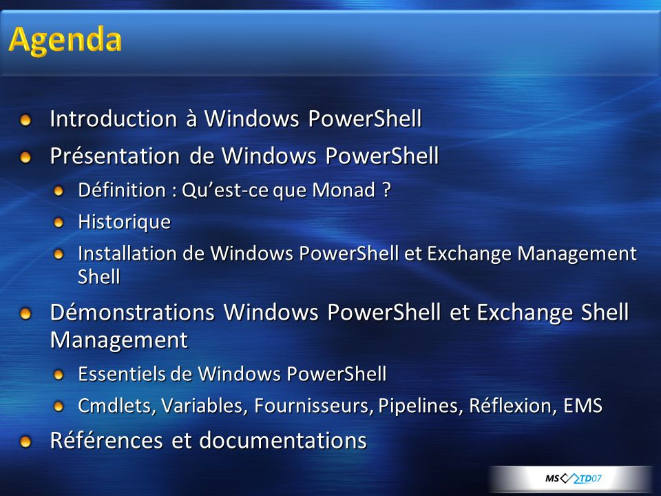 Agenda Introduction à Windows PowerShell