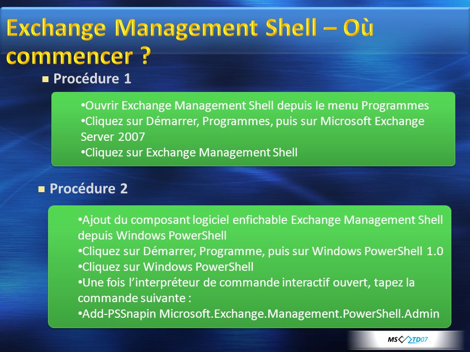 Exchange Management Shell – Où commencer