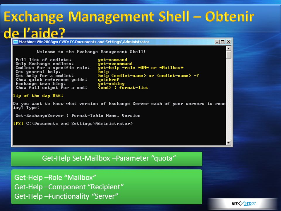 Exchange Management Shell – Obtenir de l'aide