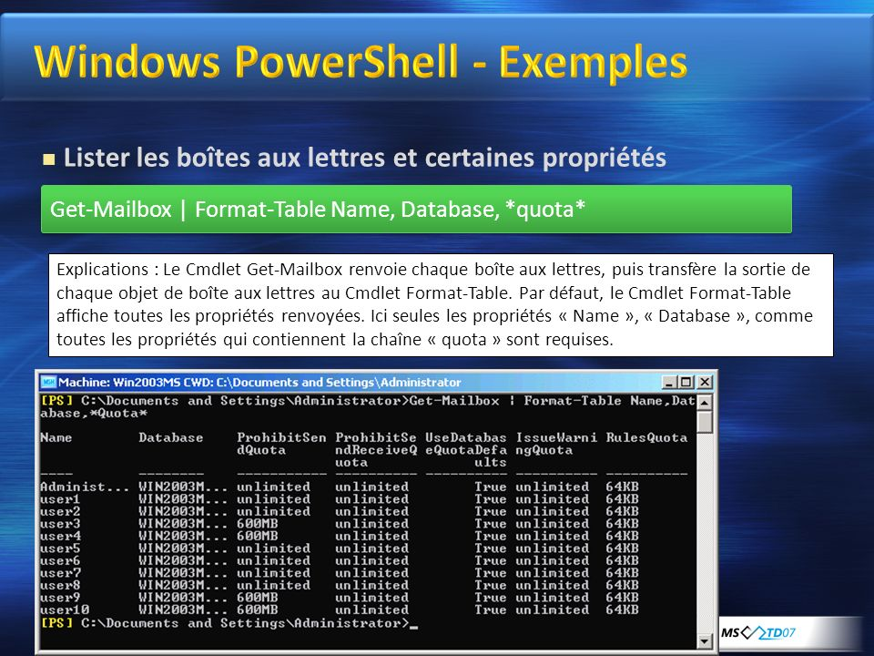 Windows PowerShell - Exemples