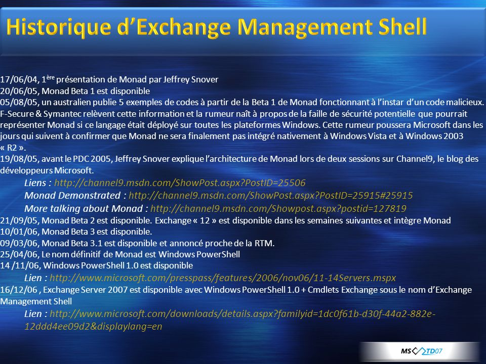 Historique d'Exchange Management Shell