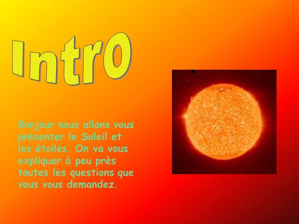 Intro Bonjour nous allons vous présenter le Soleil et les étoiles.