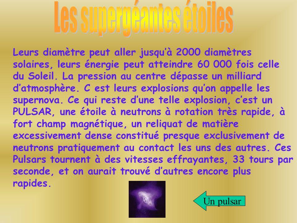 Les supergéantes étoiles
