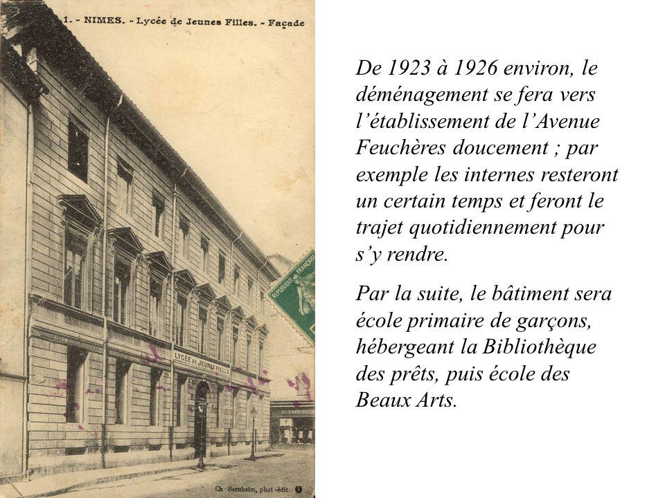 De 1923 à 1926 environ, le déménagement se fera vers l'établissement de l'Avenue Feuchères doucement ; par exemple les internes resteront un certain temps et feront le trajet quotidiennement pour s'y rendre.