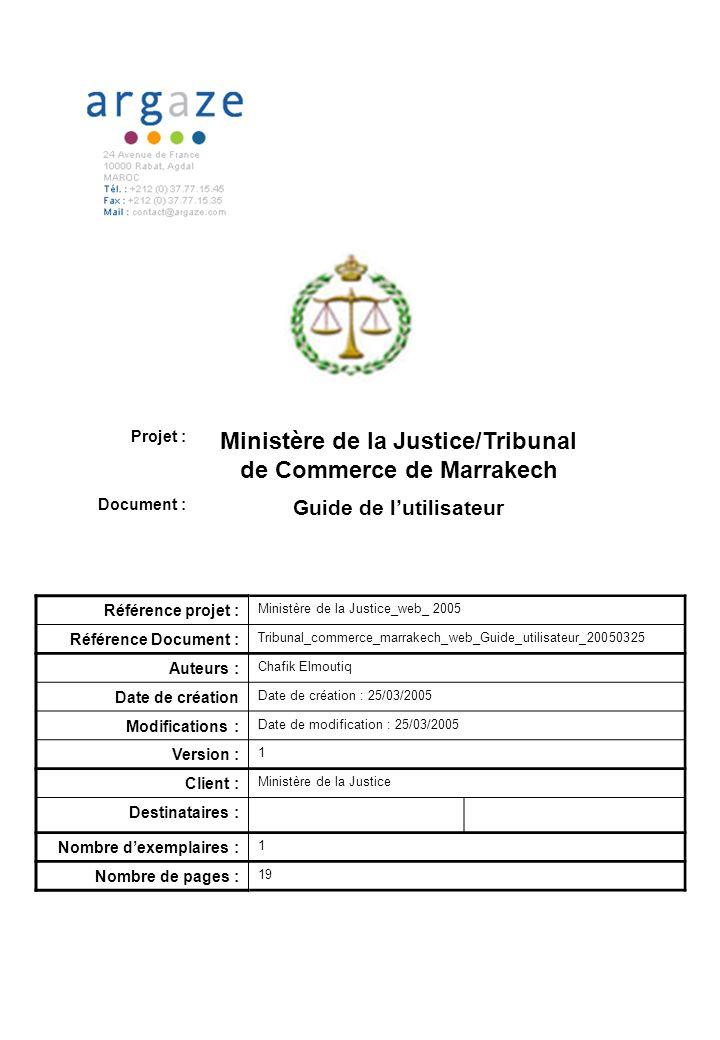 Ministère de la Justice/Tribunal de Commerce de Marrakech