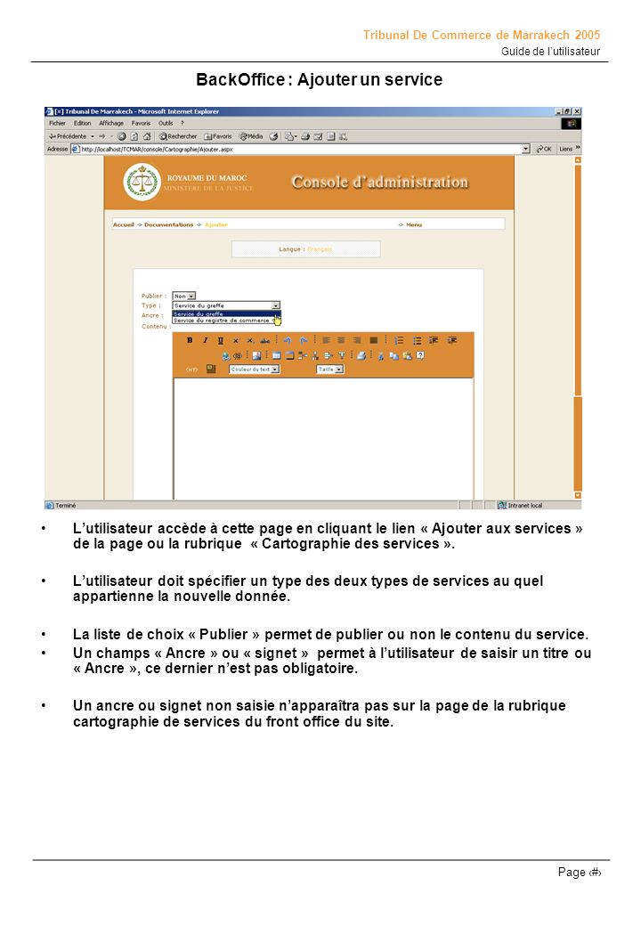 BackOffice : Ajouter un service