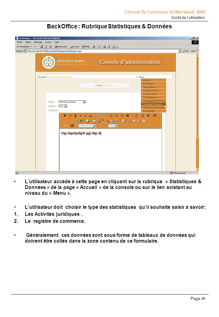 BackOffice : Rubrique Statistiques & Données