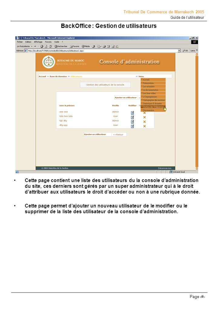 BackOffice : Gestion de utilisateurs